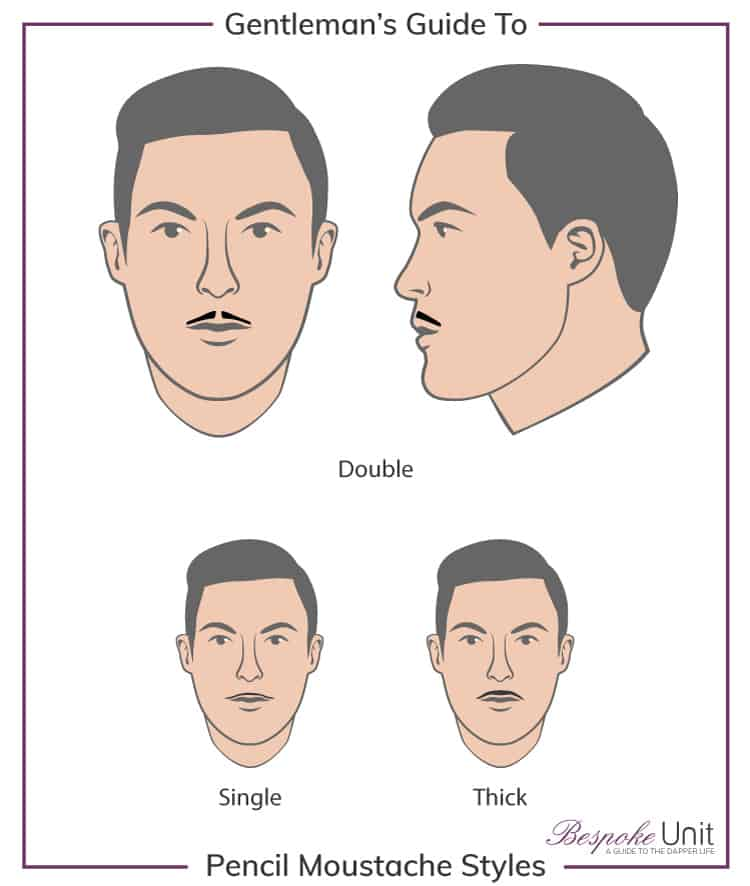 pencil-mustache-variations Top 30 Pencil Thin Mustache Styles for 2021