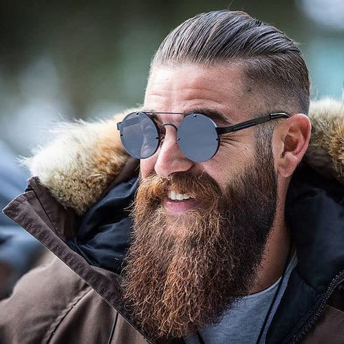 Cool-Long-Beard-with-Slicked-Back-Hair 115 Sexy Long Beard Styles for Men