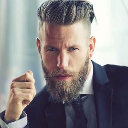 Slick-Back-Top-Undercut-Sides-Long-Beard 115 Sexy Long Beard Styles for Men