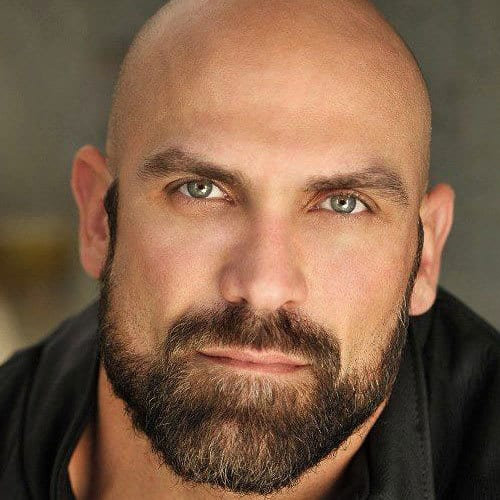 Beard-with-Shaved-Head 70 Coolest Short Beard Styles for Men