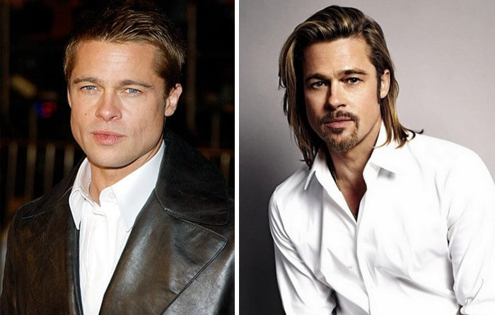 brad pitt with and without beard