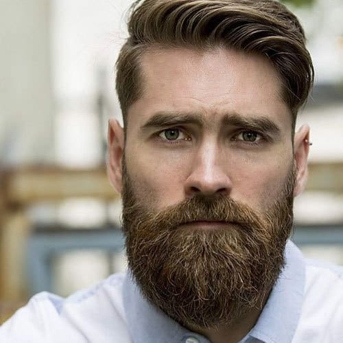 Thick-Comb-Over-Classic-Taper-Full-Beard How to Taper A Cool Beard + Top 5 Styles to Get Right Now