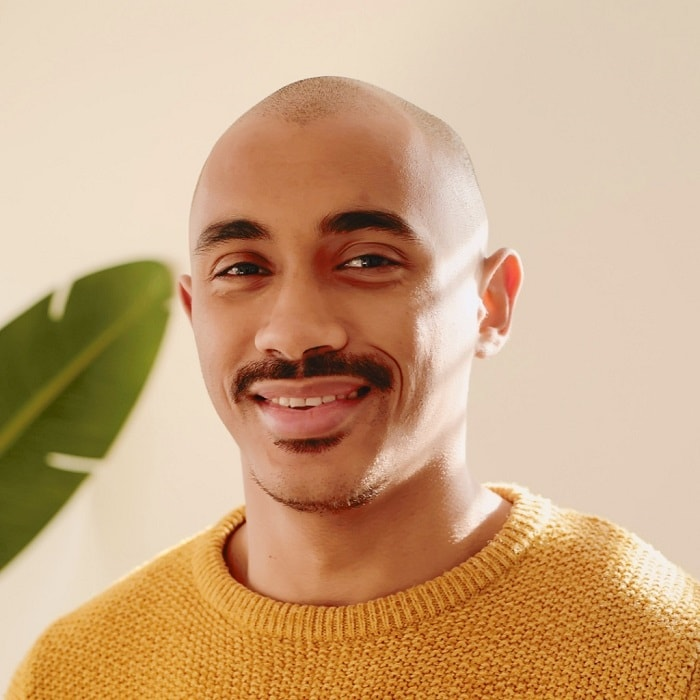bald man with mustache and soul patch beard