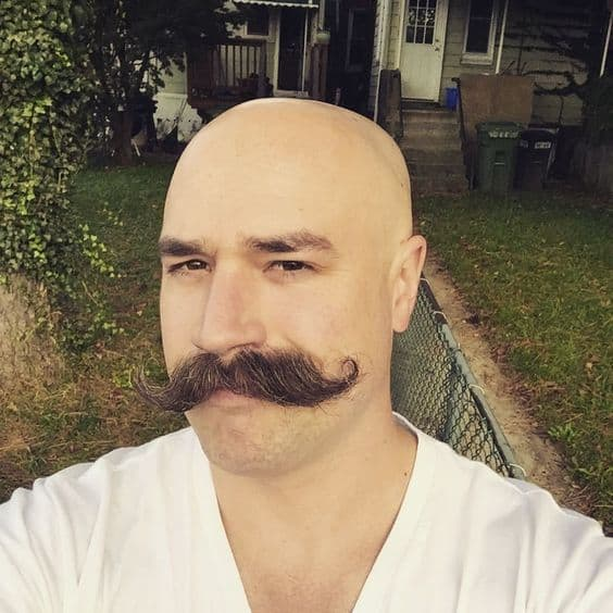 cf616b2e284bbdce8f153c7f3321b5f8 How A Bald Guy Should Wear A Mustache + Top 5 Styles