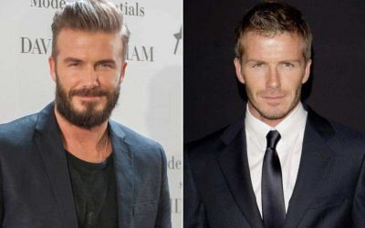 with and without Beard Look