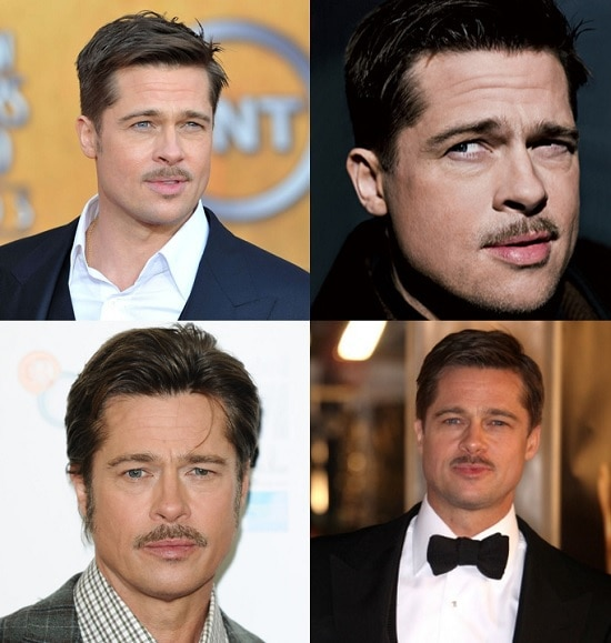 BRAD-PITT-mustache Get Inspired By 5 Famous Beards, Goatees And Mustache Style