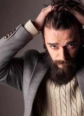 combination of hair and beard