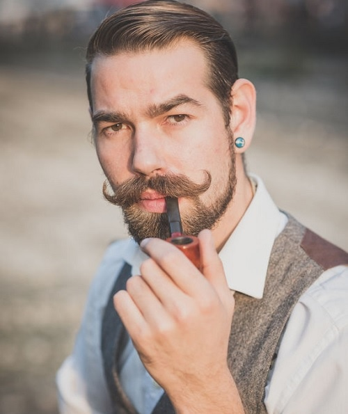 handlebar-mustache 70 Hottest Mustache Styles for Guys Right Now [2020]