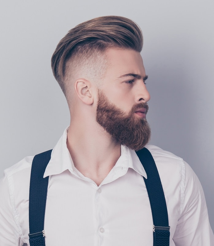 Short Pomp with Fade and Long Beard
