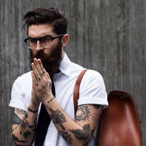 floppy haircut for bearded men