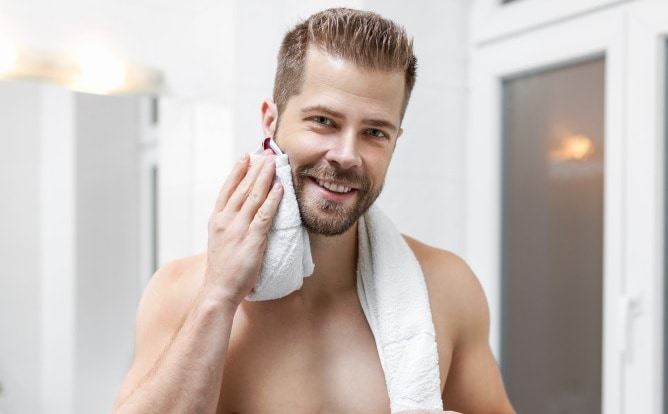 warm dabbing on beard