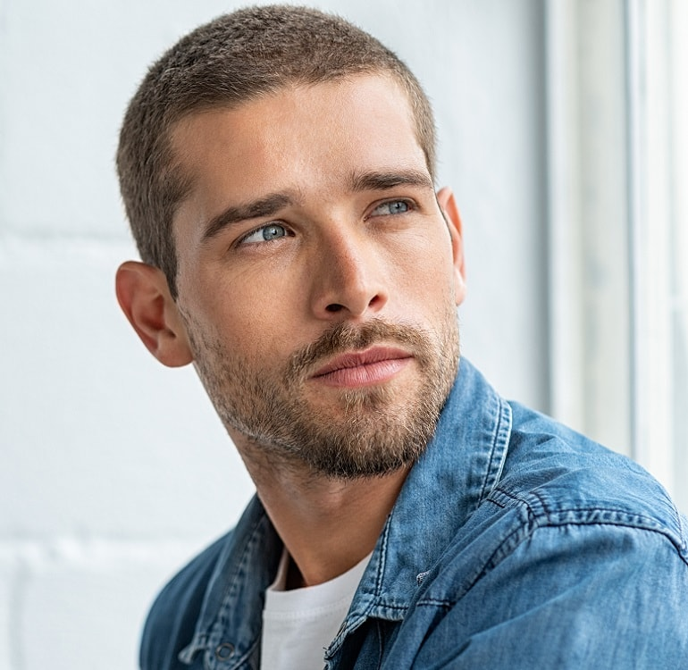 buzz-cut-with-patchy-beard 50 Buzz Cut Styles With Beards That'll Turn Heads
