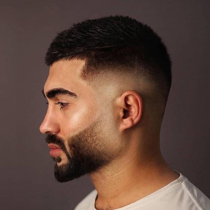 bald fade haircut with beard