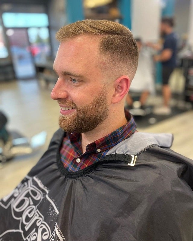 bald-fade-with-part-and-beard 10 Sexiest Bald Fade with Beard Styles