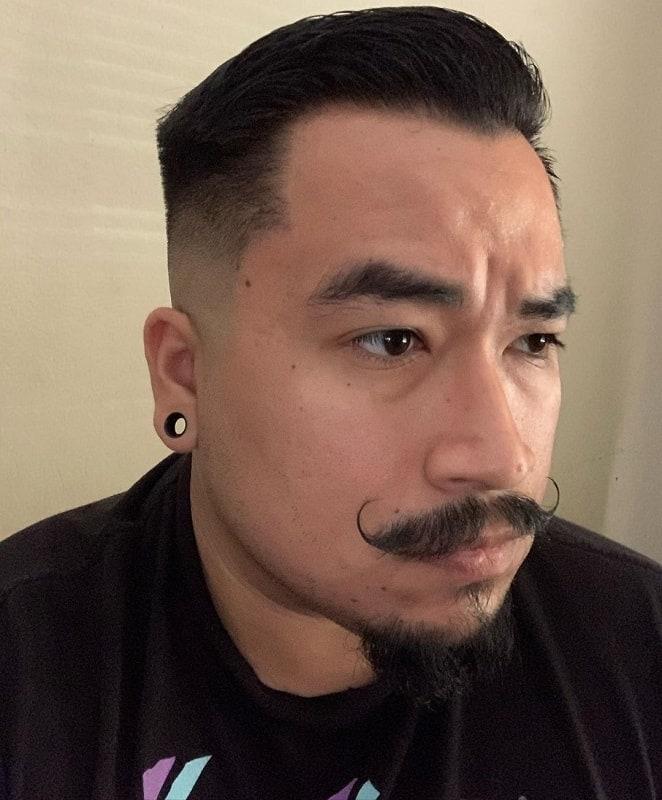 fade hair with van dyke beard