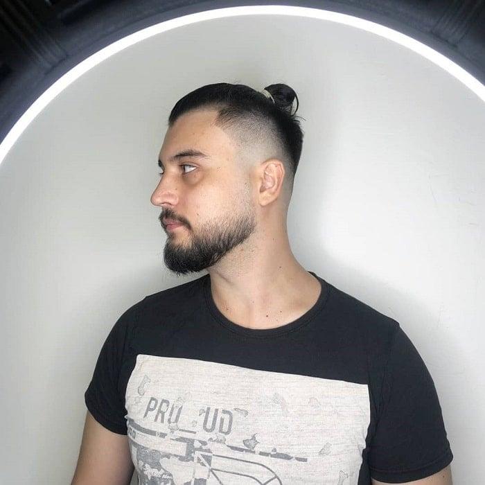 man-bun-with-bald-fade-and-beard 10 Sexiest Bald Fade with Beard Styles