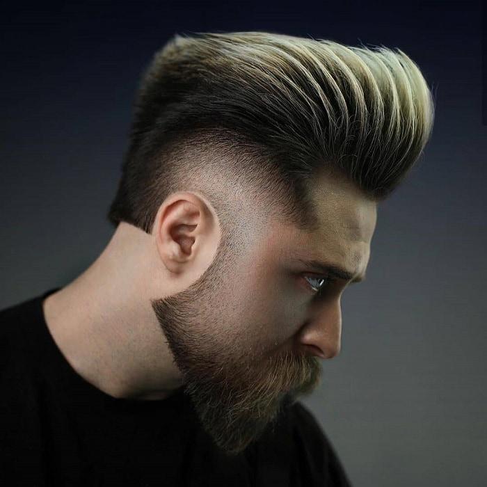 pompadour undercut with beard