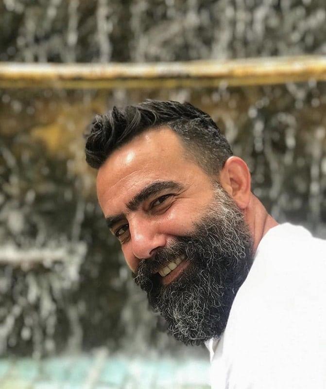salt and pepper medium beard