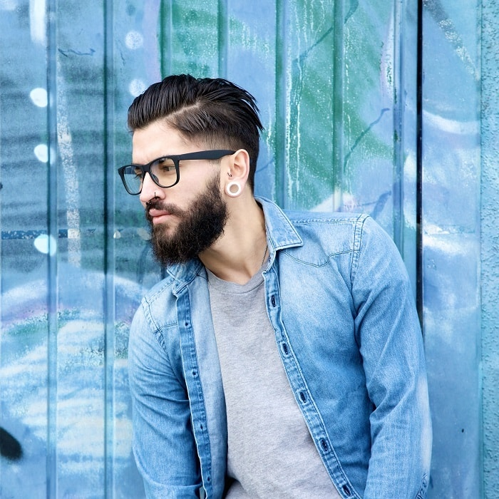 side part undercut with beard