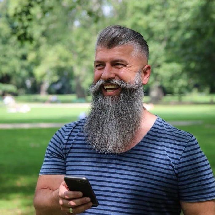 undercut hair with long beard