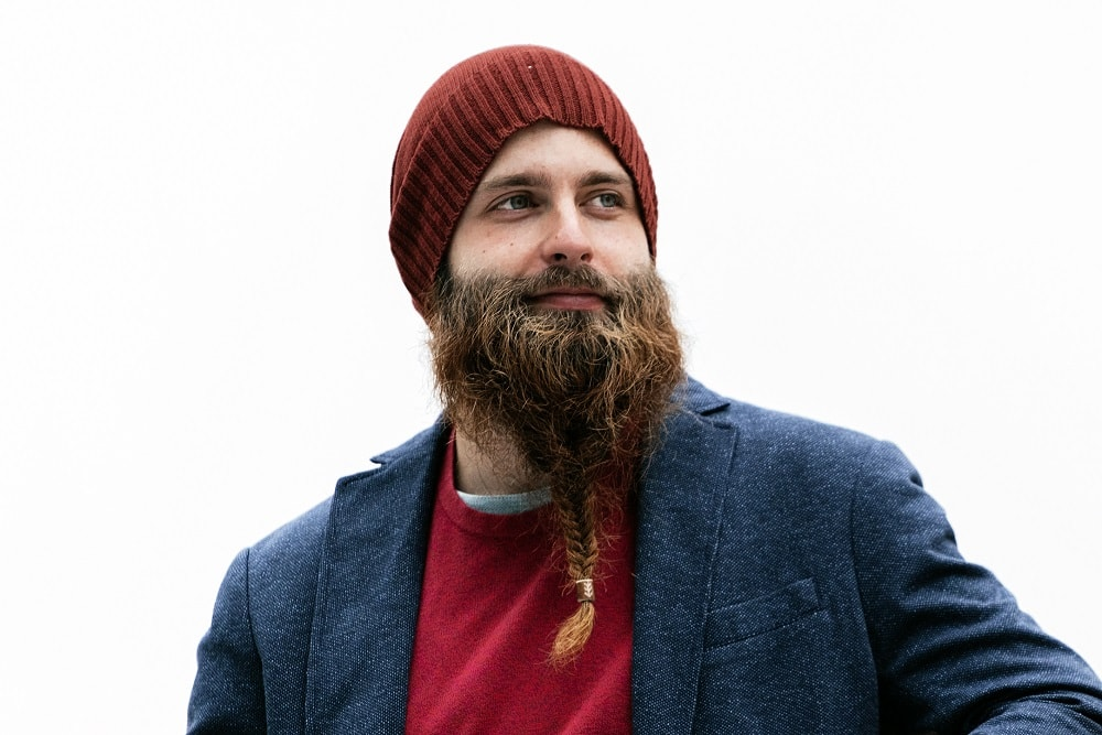 Beard braided in the middle