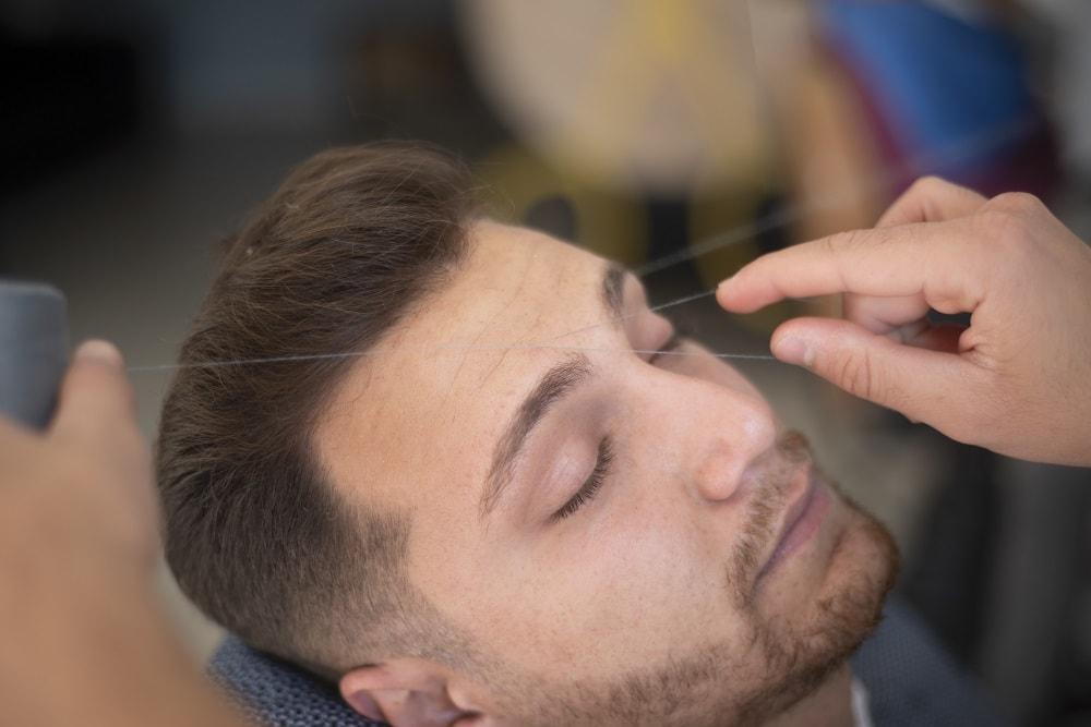Remove vellus beard hair by threading