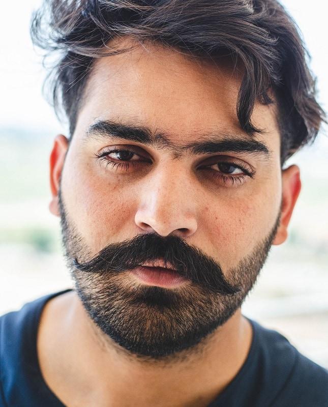 Light Stubble Beard with Handlebars