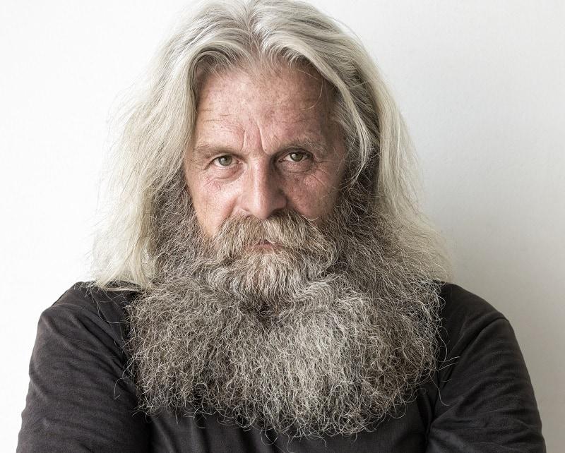 Long Grey Hair and Beard