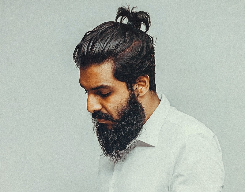 Ponytail with Untrimmed Long Beard