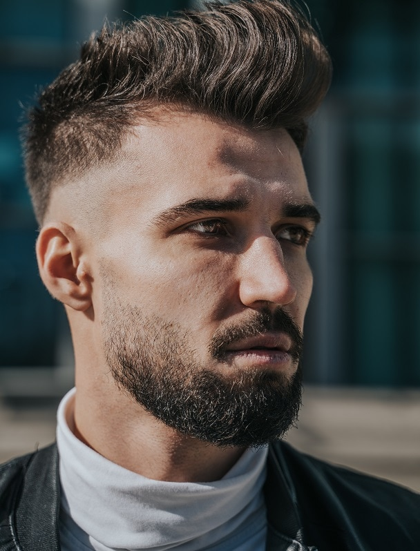 Skin Fade with Heavy Stubble