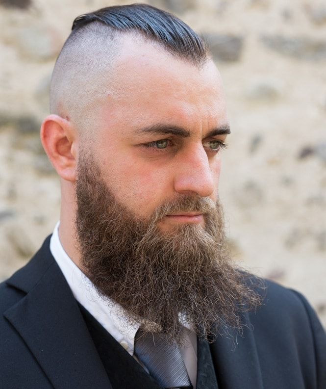 Slick Back Fade with Long Beard
