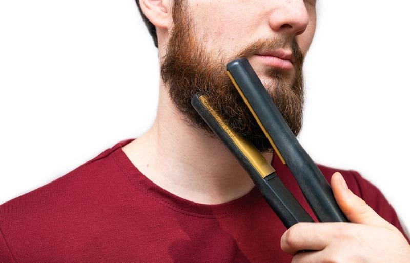 straightening beard with heated tools